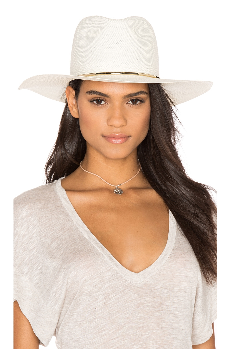 Janessa Leone Begonia Wide Brimmed Panama Hat in Bleach