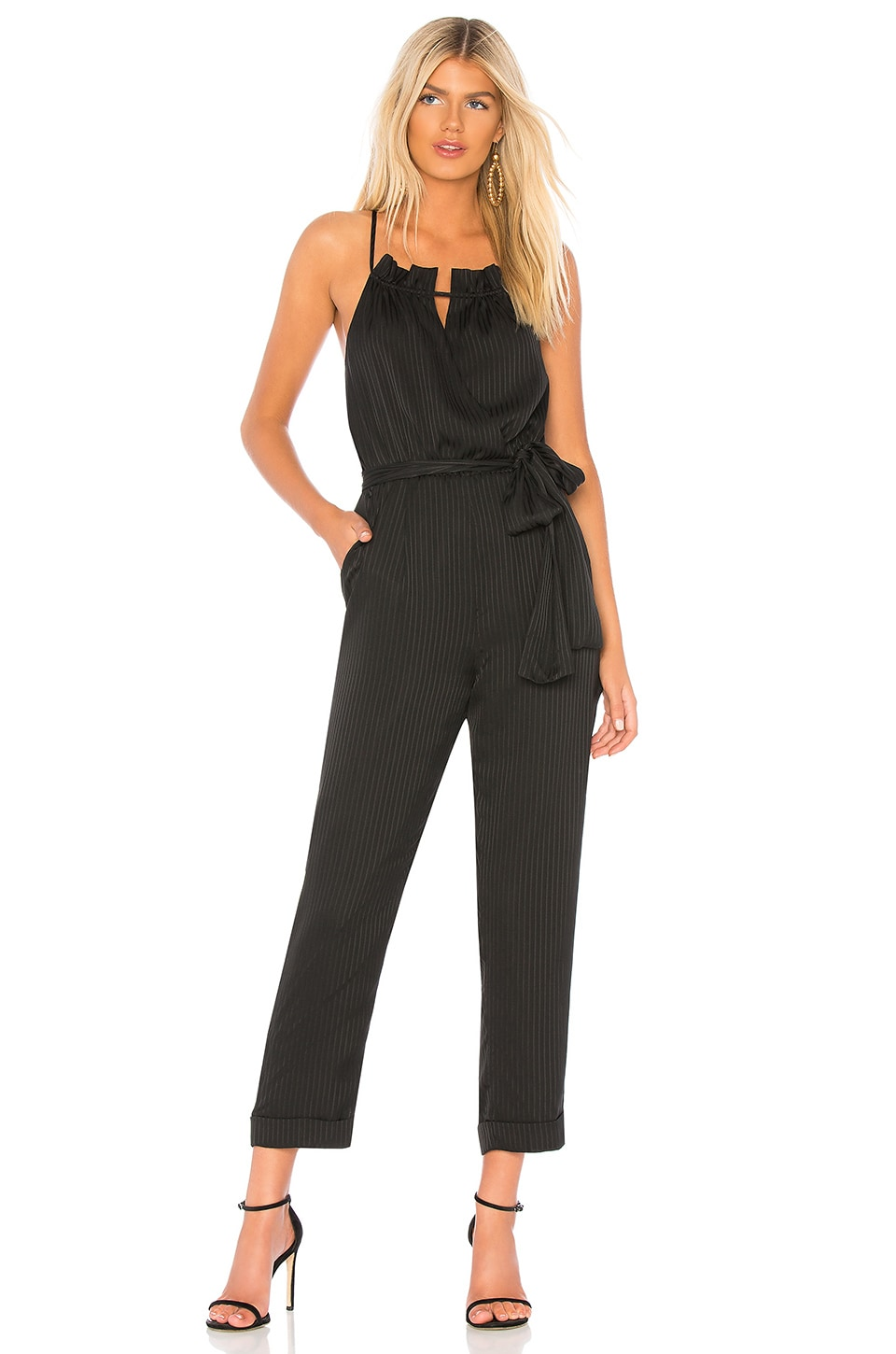 J.O.A. Cross Back Jumpsuit in Black Stripe