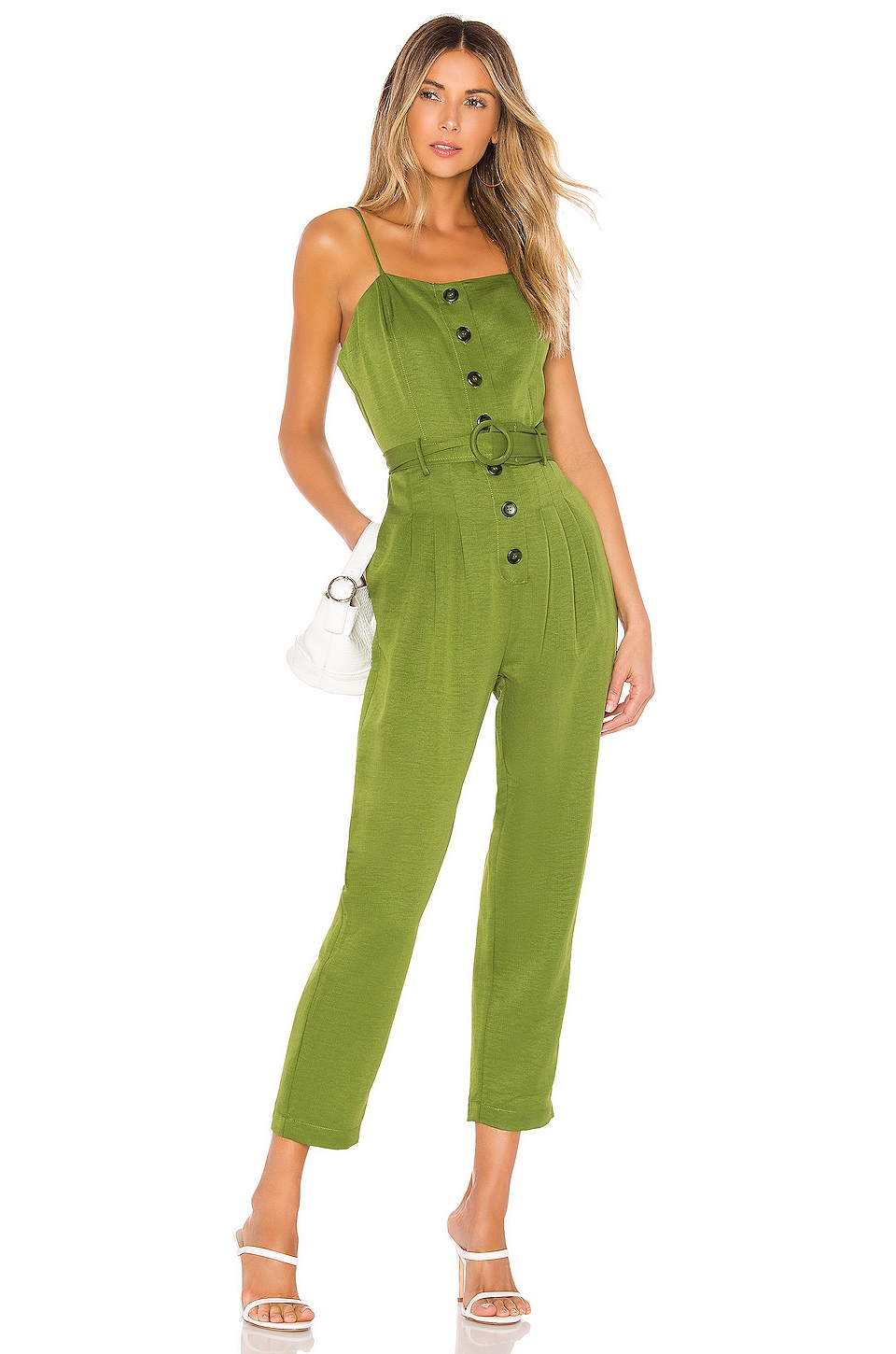 J.O.A. Strapless Belted Jumpsuit in Moss