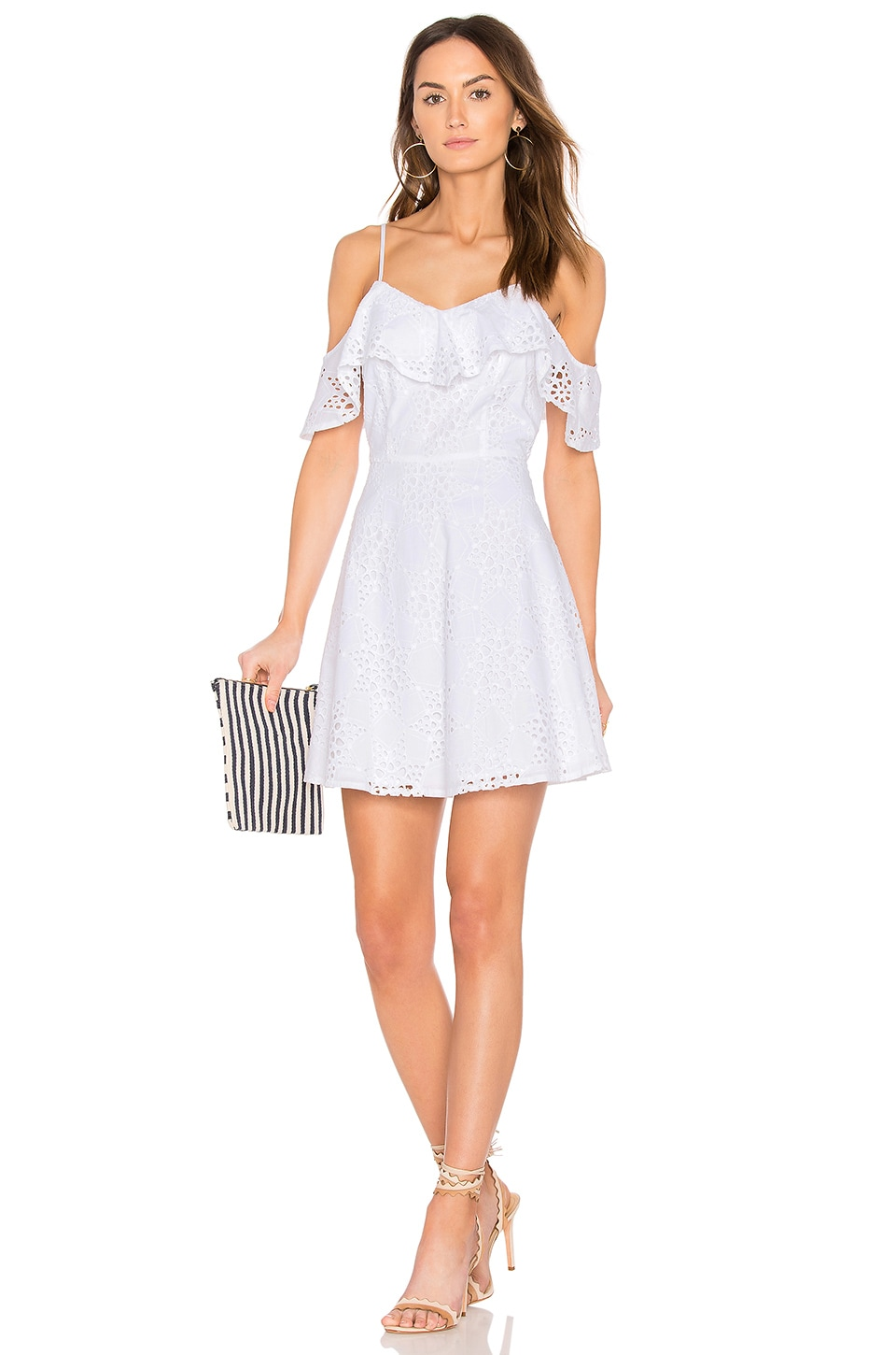 J.O.A. Cold Shoulder Fit & Flare Lace Dress in Off White
