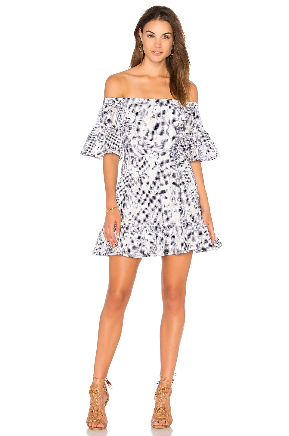 J.O.A. Floral-Lace Off The Shoulder Dress in Navy & White