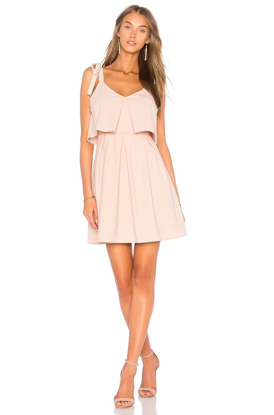 J.O.A. Ribbon Tie Flare Dress in Nude