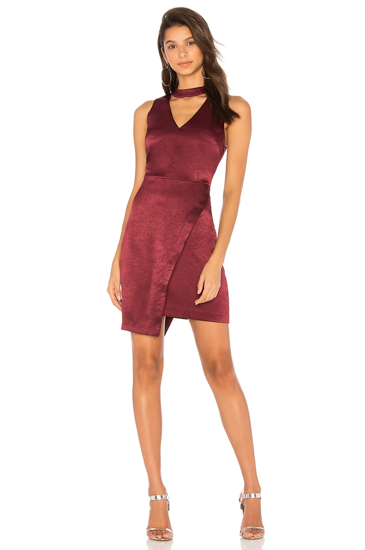 J.O.A. Asymmetric Hem Choker Neck Dress in Wine