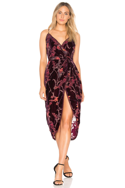 J.O.A. Burnout Velvet Wrap Dress in Wine Multi