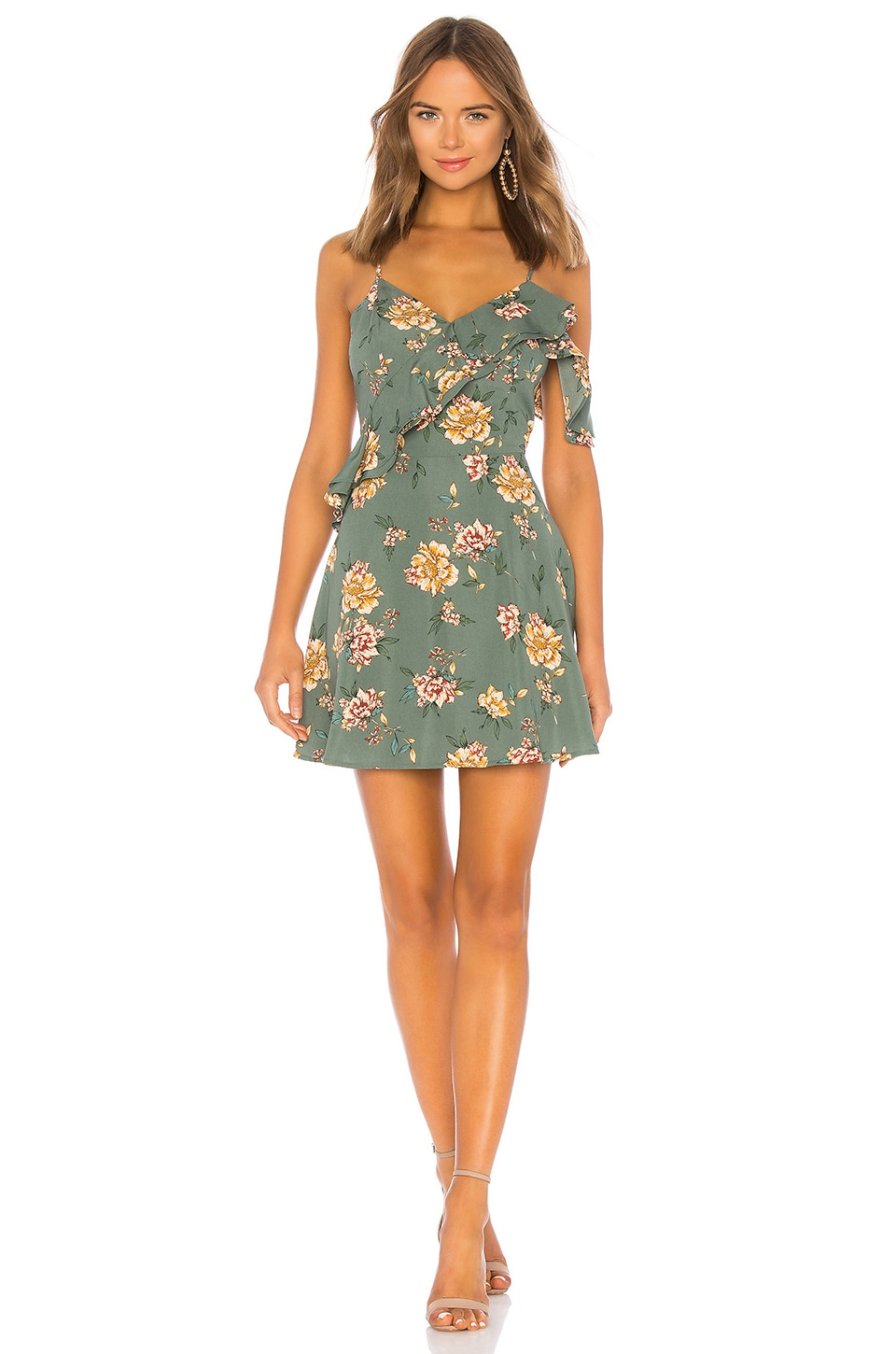 J.O.A. One Shoulder Ruffle Fit And Flare Dress in Green Floral