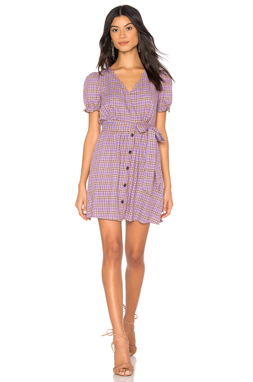 J.O.A. V Neck Button Front Dress in Purple Plaid