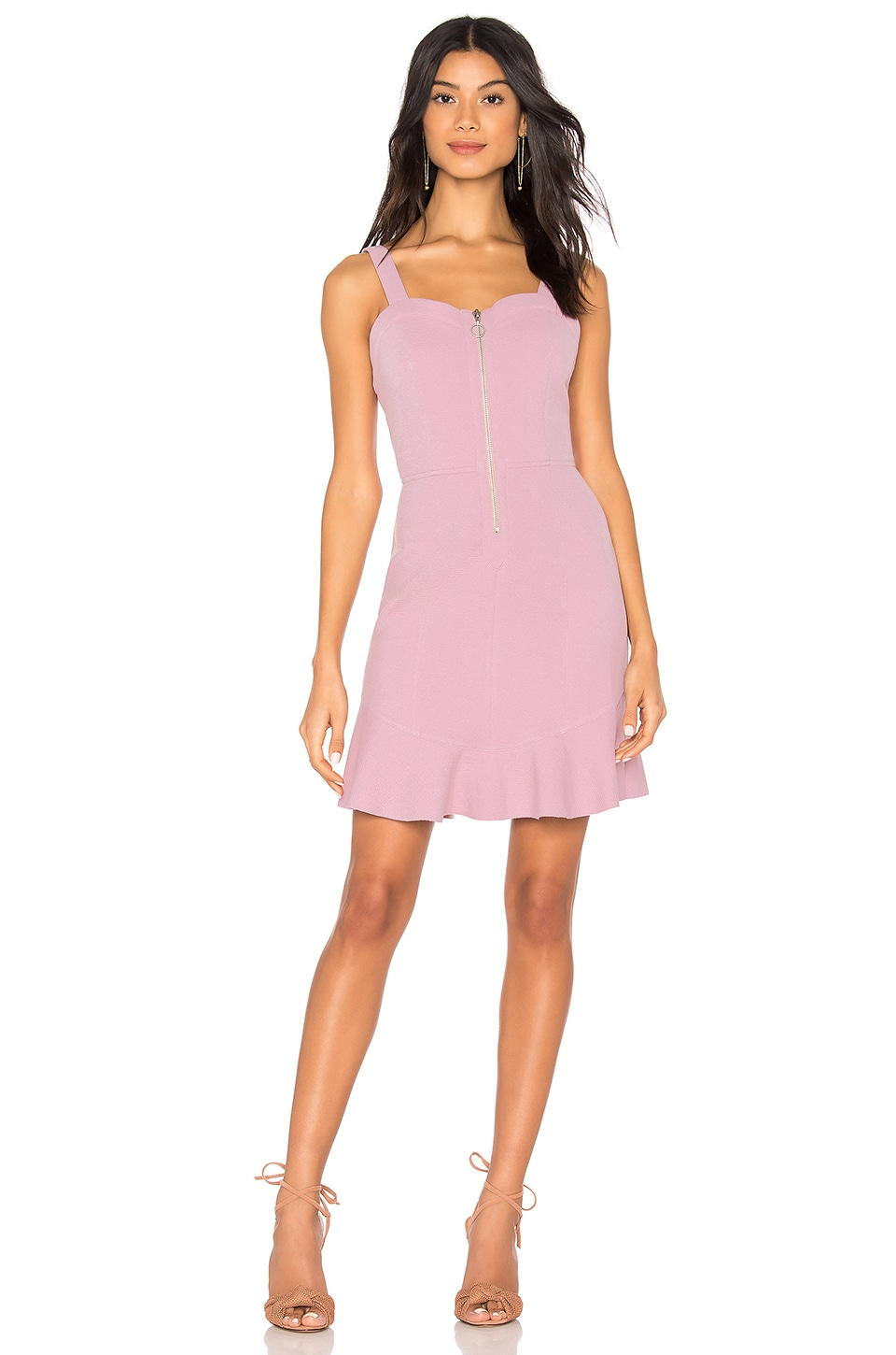 J.O.A. Zipper Front Dress in Lilac