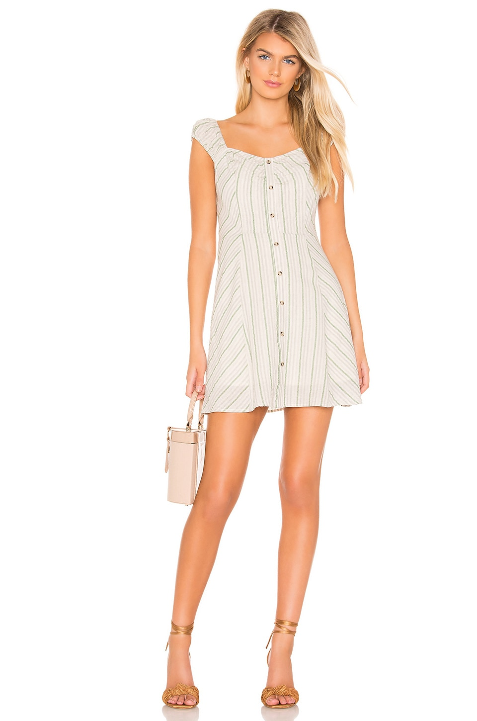 J.O.A. Buttoned Down Mini Dress in Green Stripe