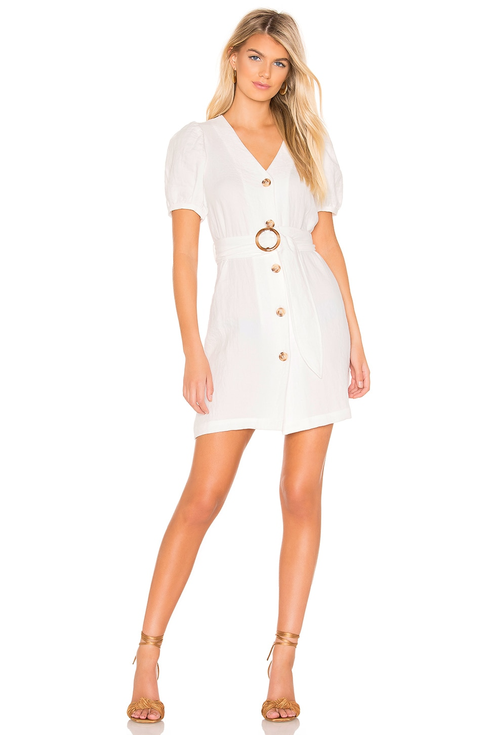 J.o.a. Dresses J.O.A. PUFF SLEEVE DRESS IN OFF WHITE