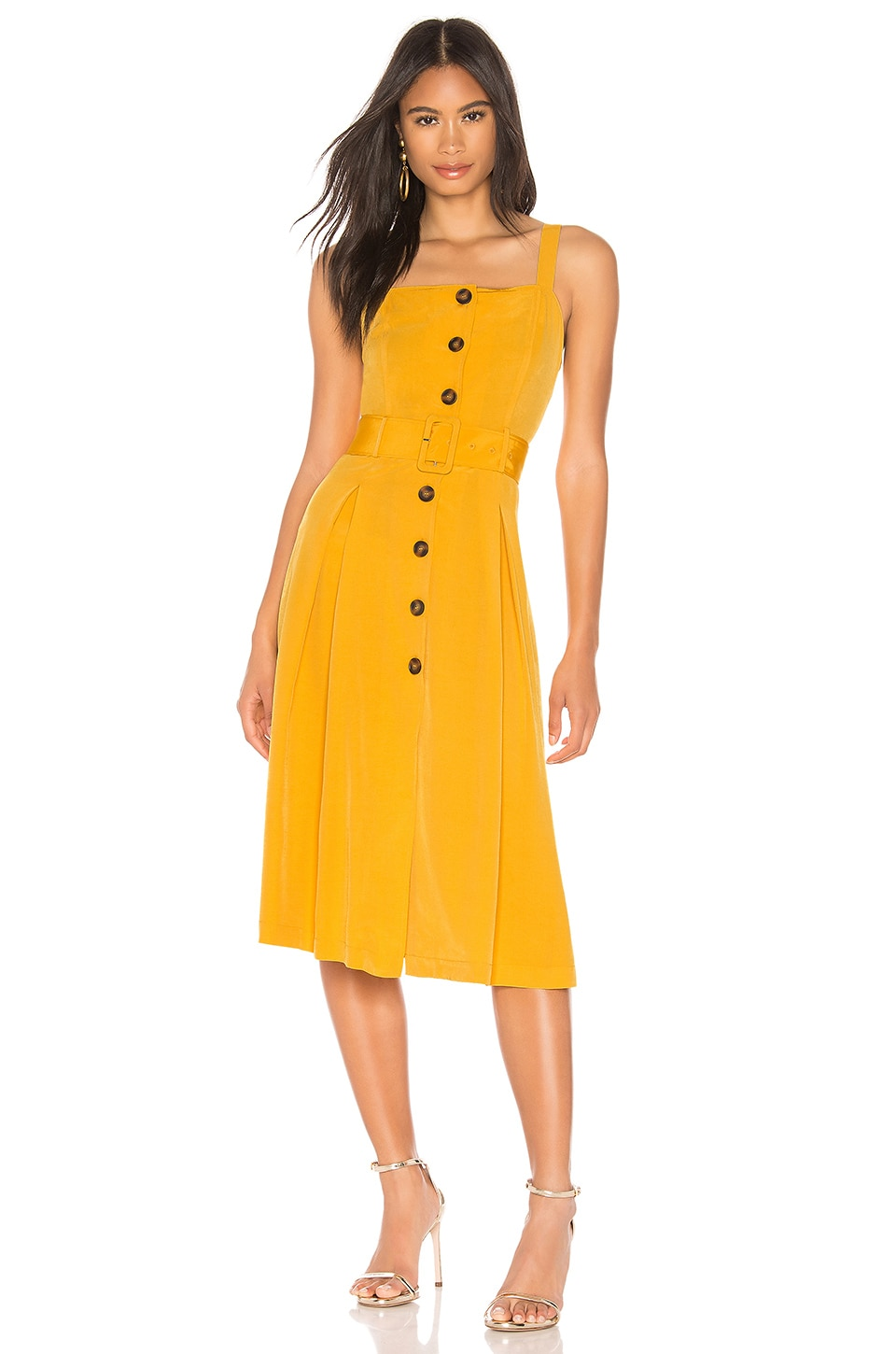 J.O.A. Buttoned Down Belted Dress in Marigold