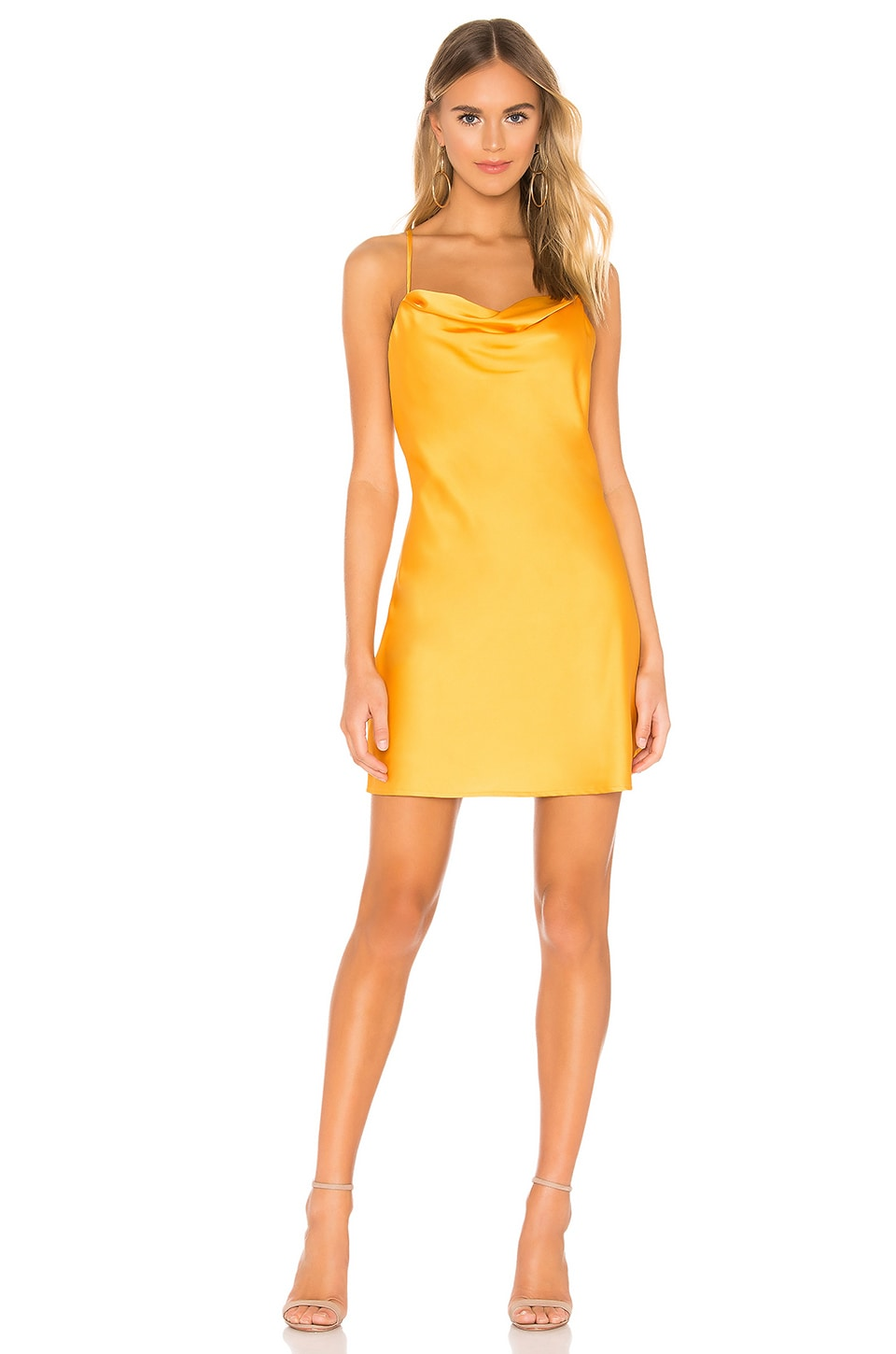 J.o.a. Dresses J.O.A. COWL NECK SLIP DRESS IN ORANGE.