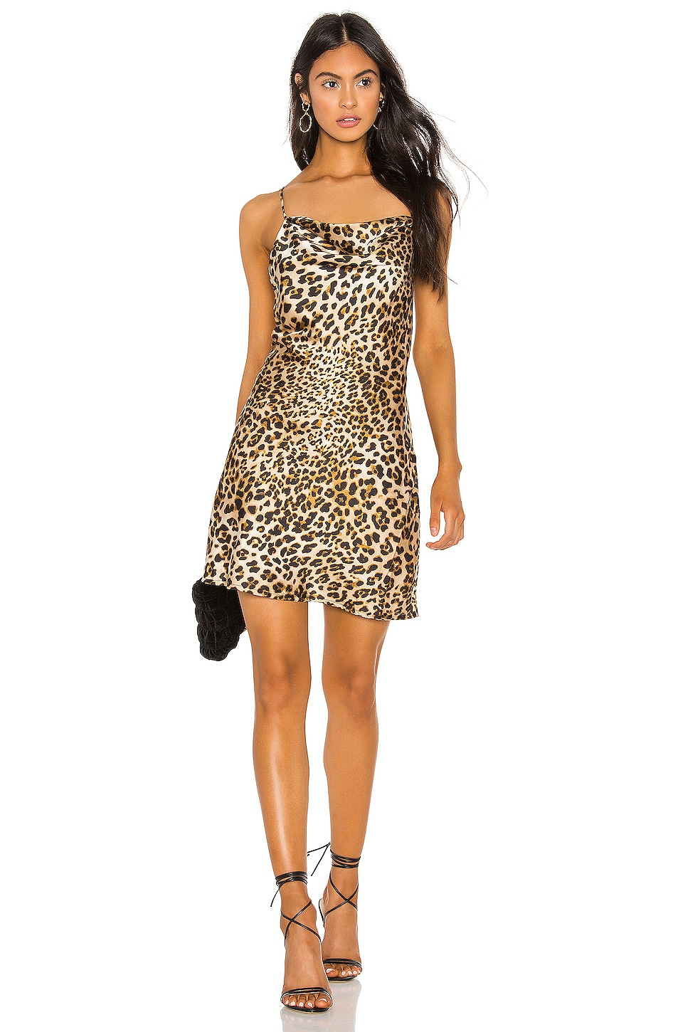 J.O.A. Cowl Neck Slip Dress in Leopard Print