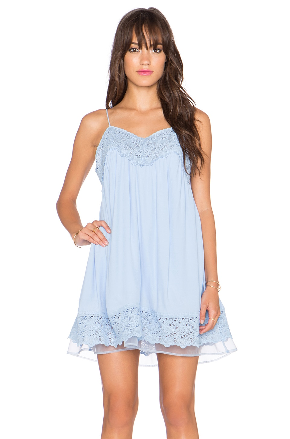 J.O.A. Lace Shift Dress in Baby Blue