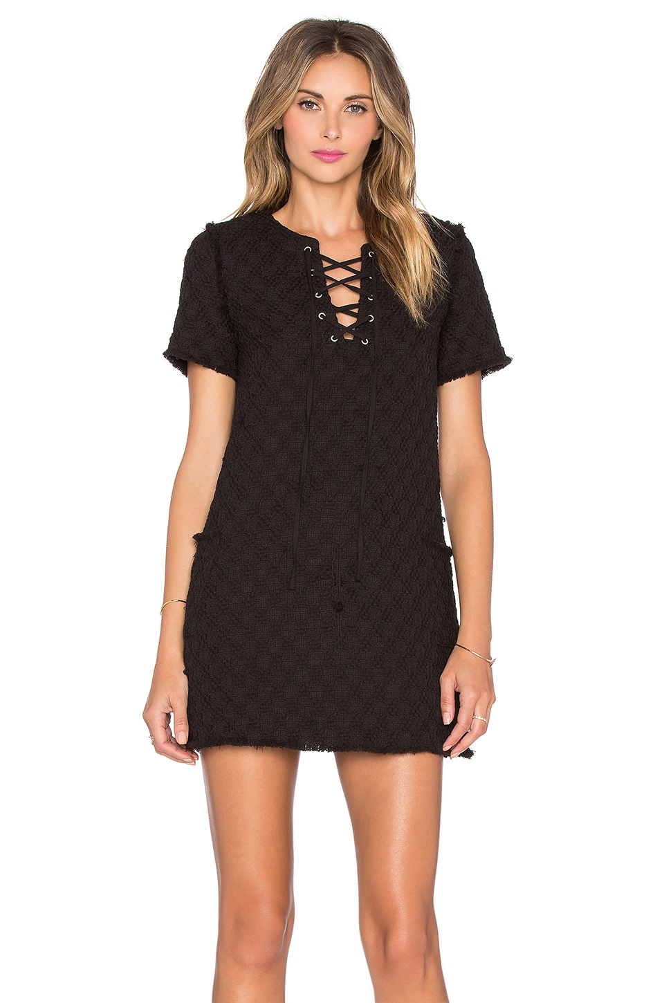 J.O.A. Lace Up Shift Dress in Black