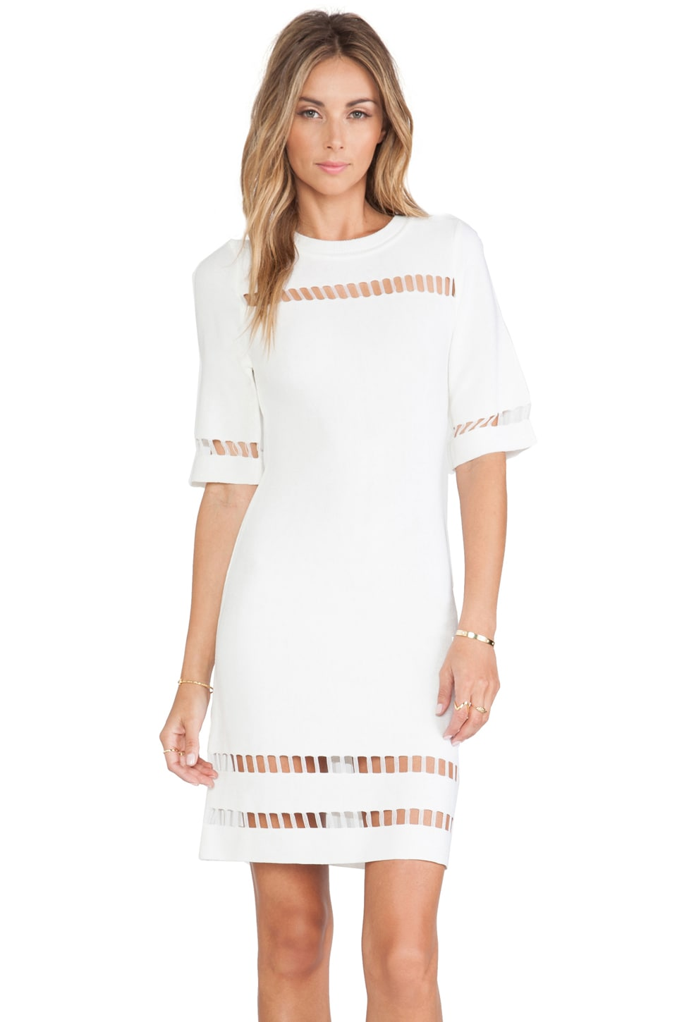 J.O.A. Short Sleeve Dress in Ivory