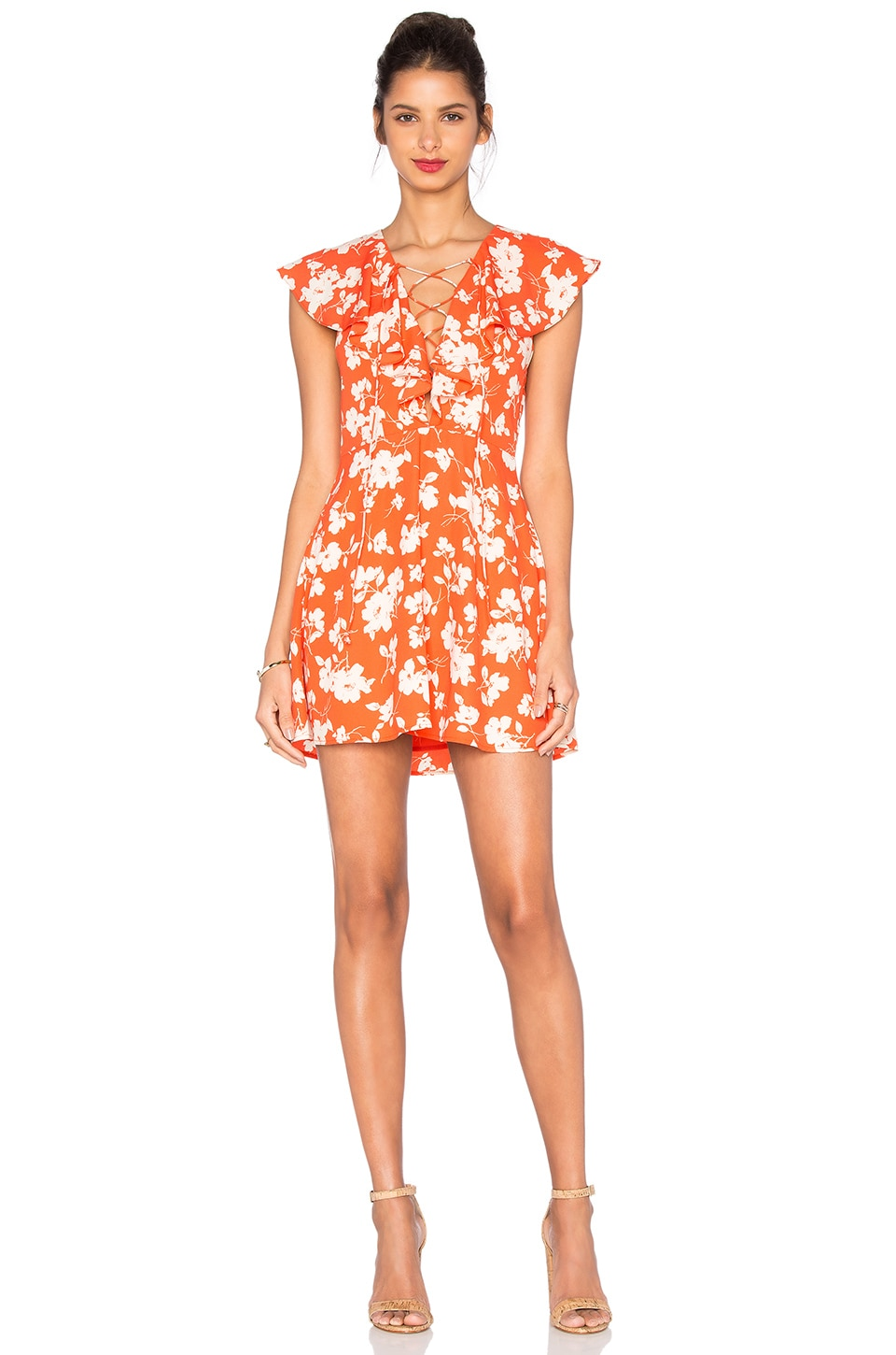 Sleeveless Lace Up Floral Dress by J.O.A.