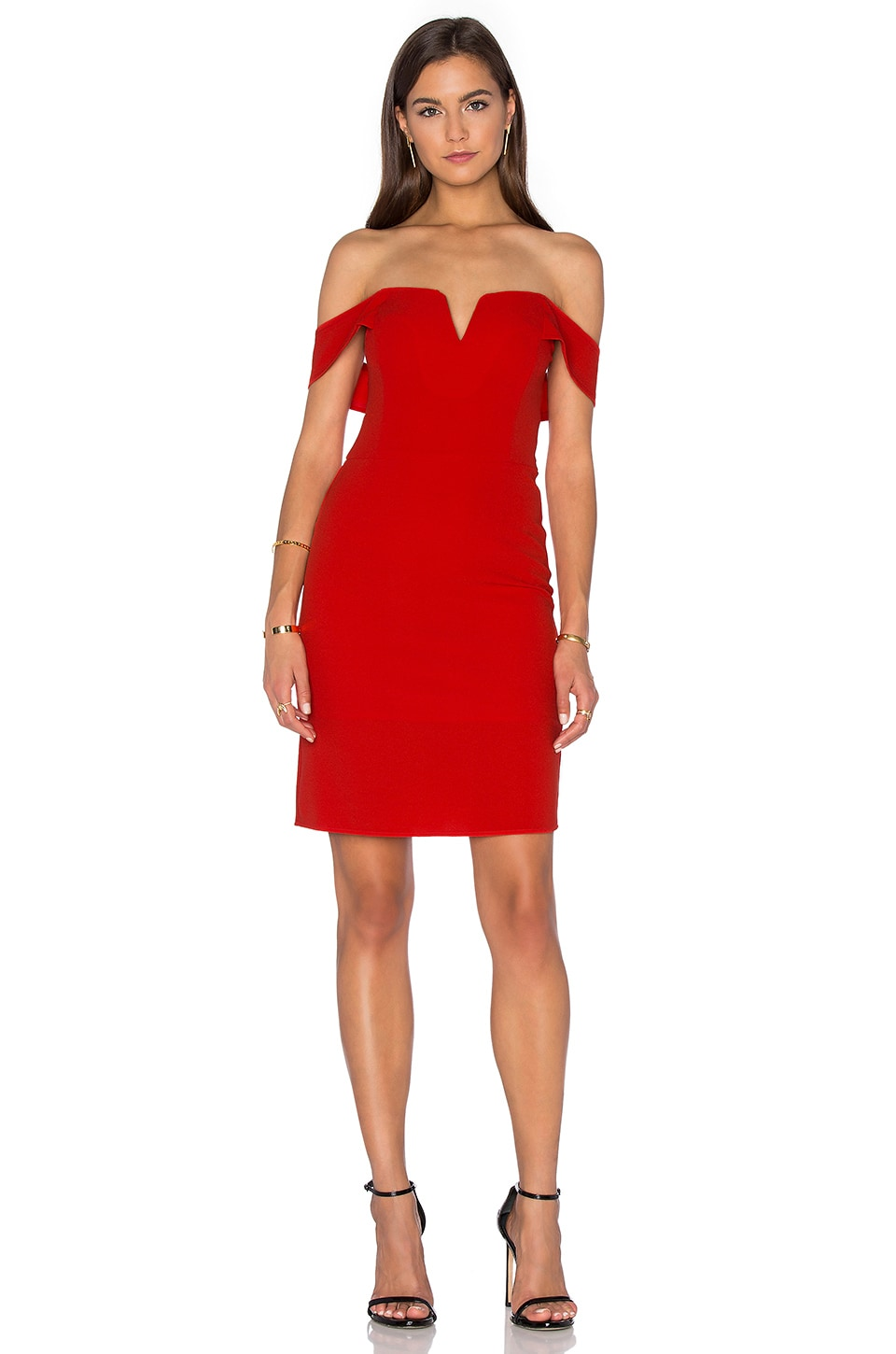 J.O.A. Off The Shoulder Mini Dress in Red