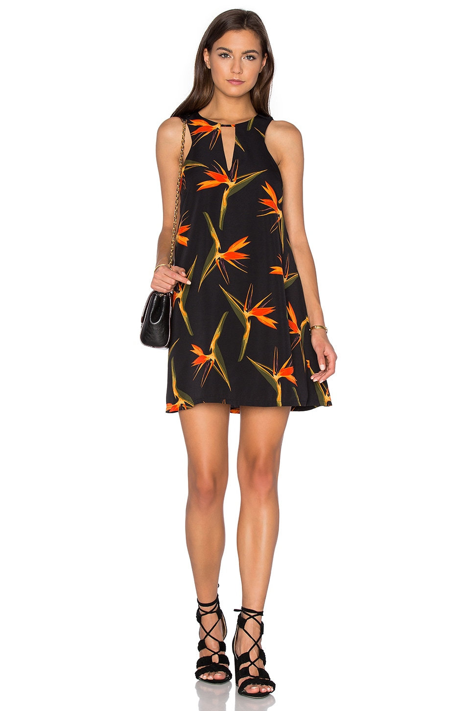 J.O.A. Sleeveless Keyhole Shift Dress in Orange Tropic
