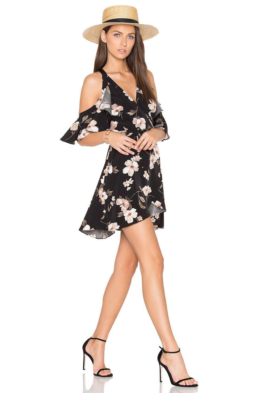 J.O.A. Cut Out Shoulder Mini Dress in Black Multi