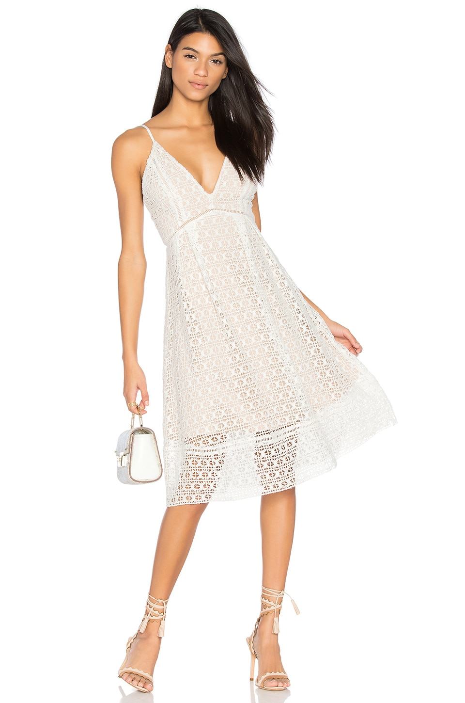 J.O.A. Crochet Dress in White