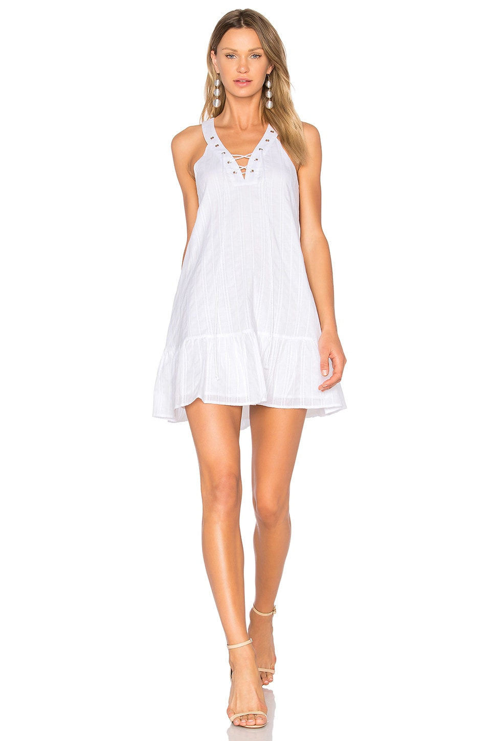 J.O.A. Lace Up Mini Dress in White