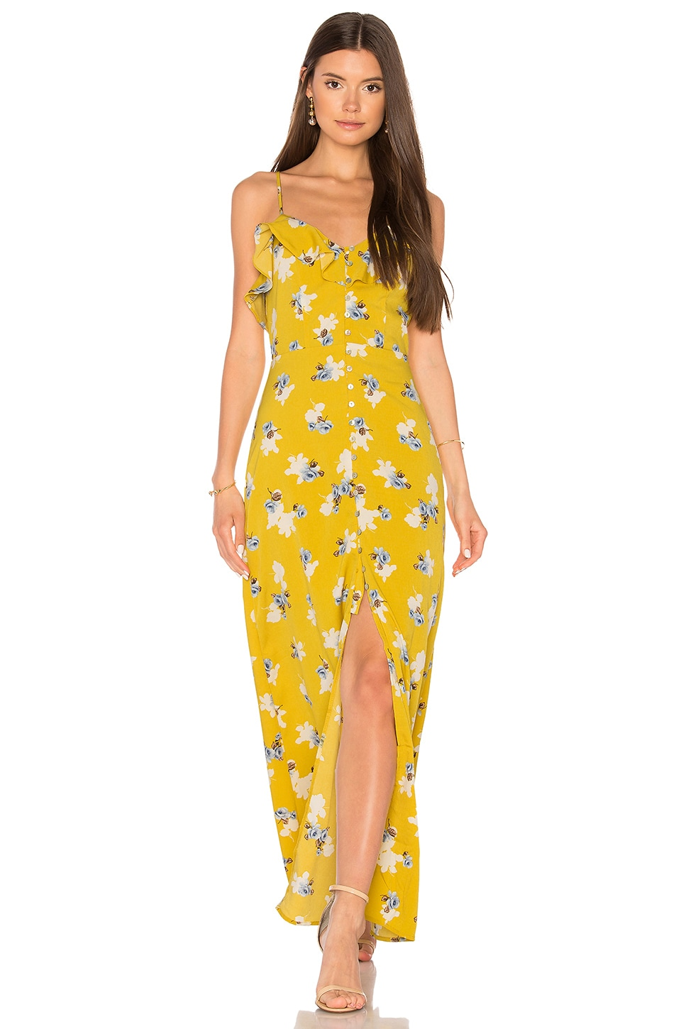 J.O.A. Flower Print Button Down Maxi in Yellow Multi