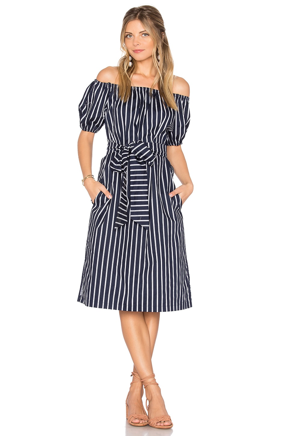 J.O.A. Stripe Off The Shoulder Dress in Navy Multi