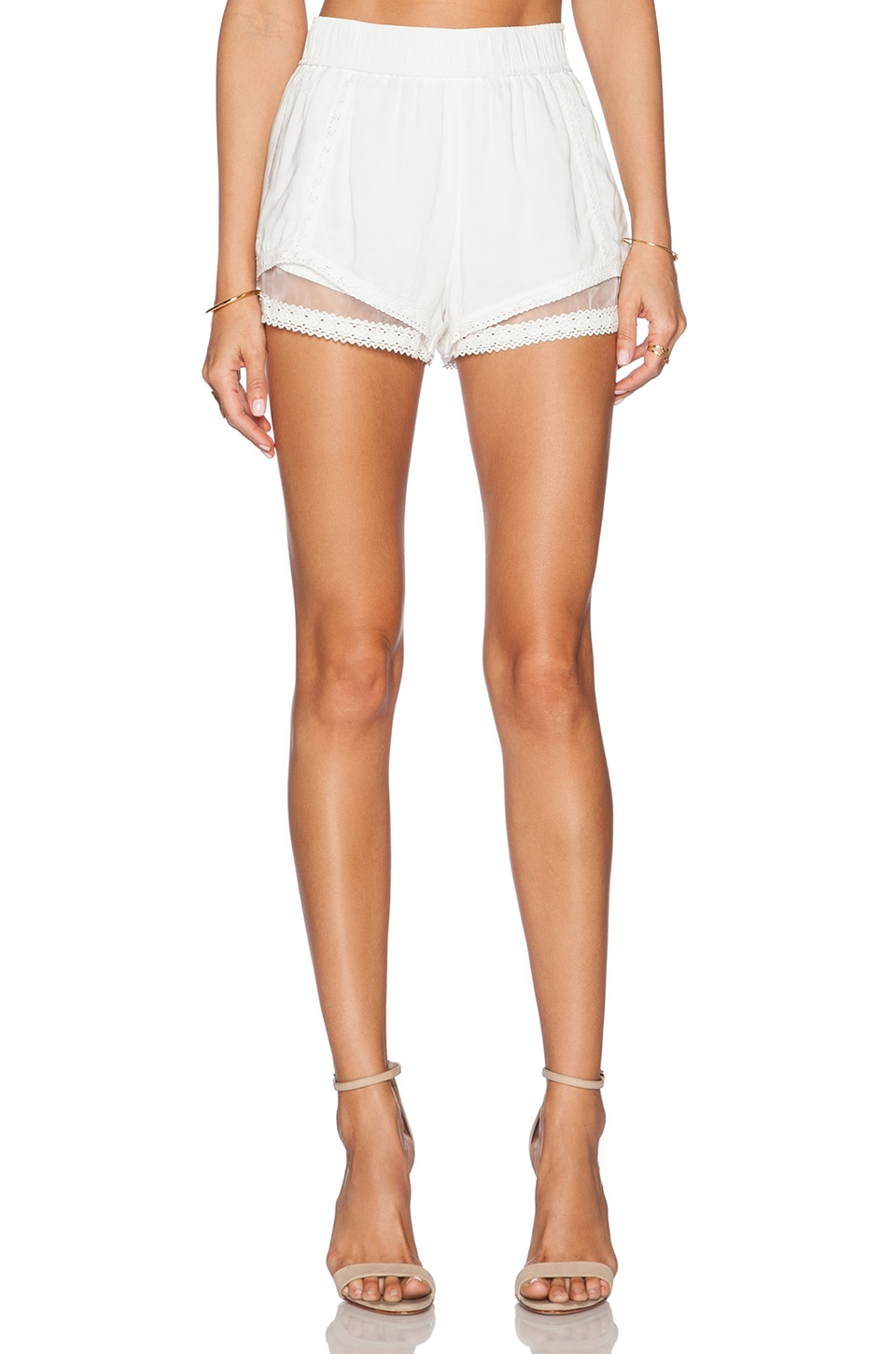 J.O.A. Lace Trim Short in Off White