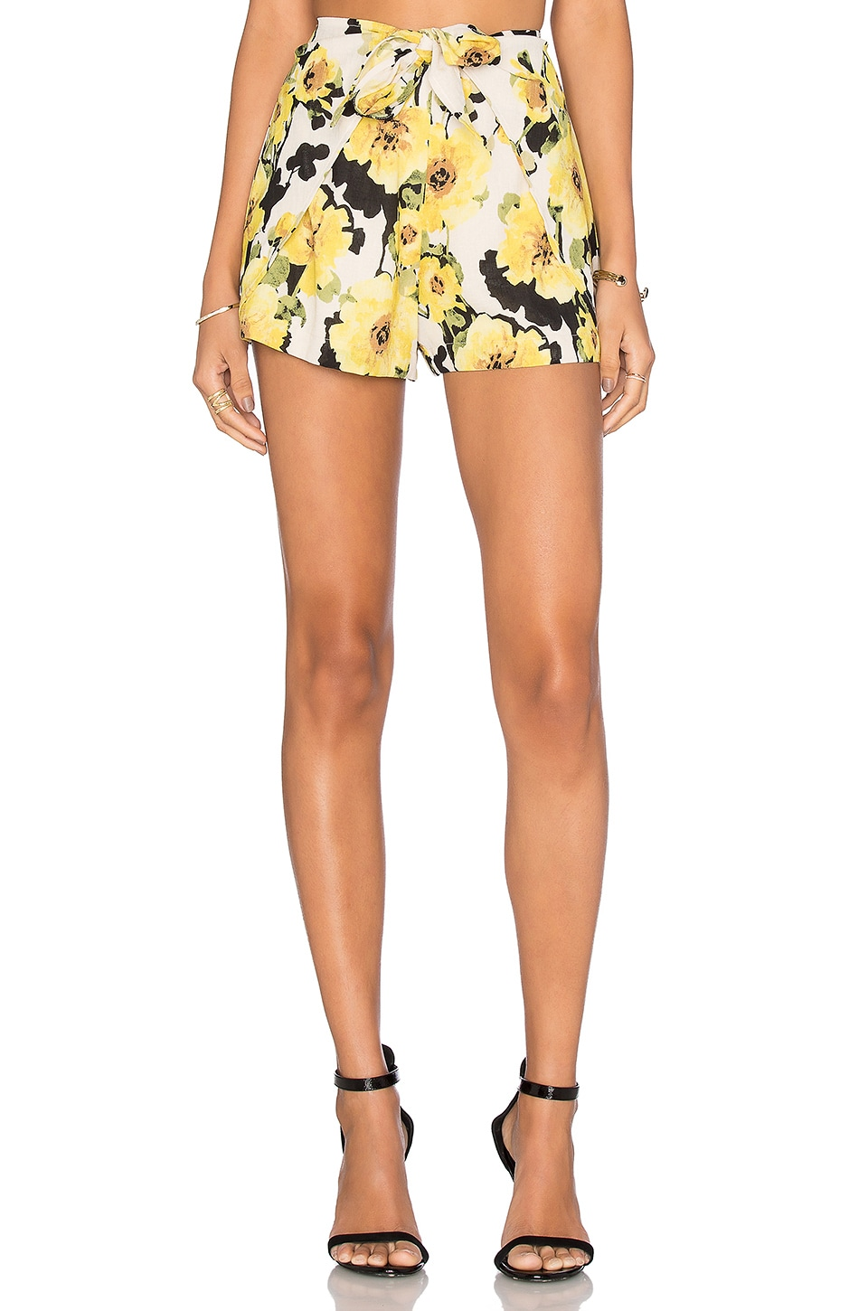 J.O.A. Floral Short in Yellow Multi