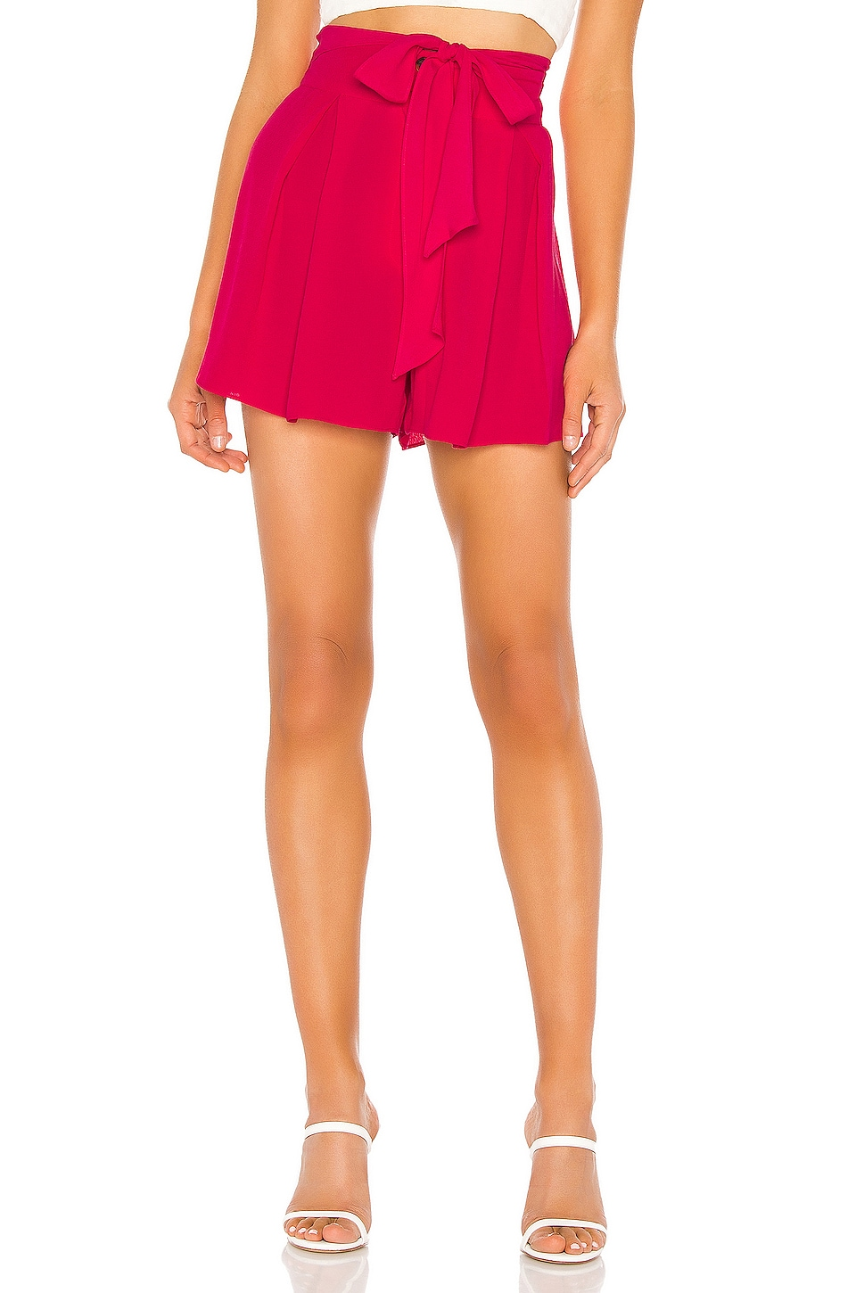 J.O.A. Pleated Waist Tie Short in Punch Pink