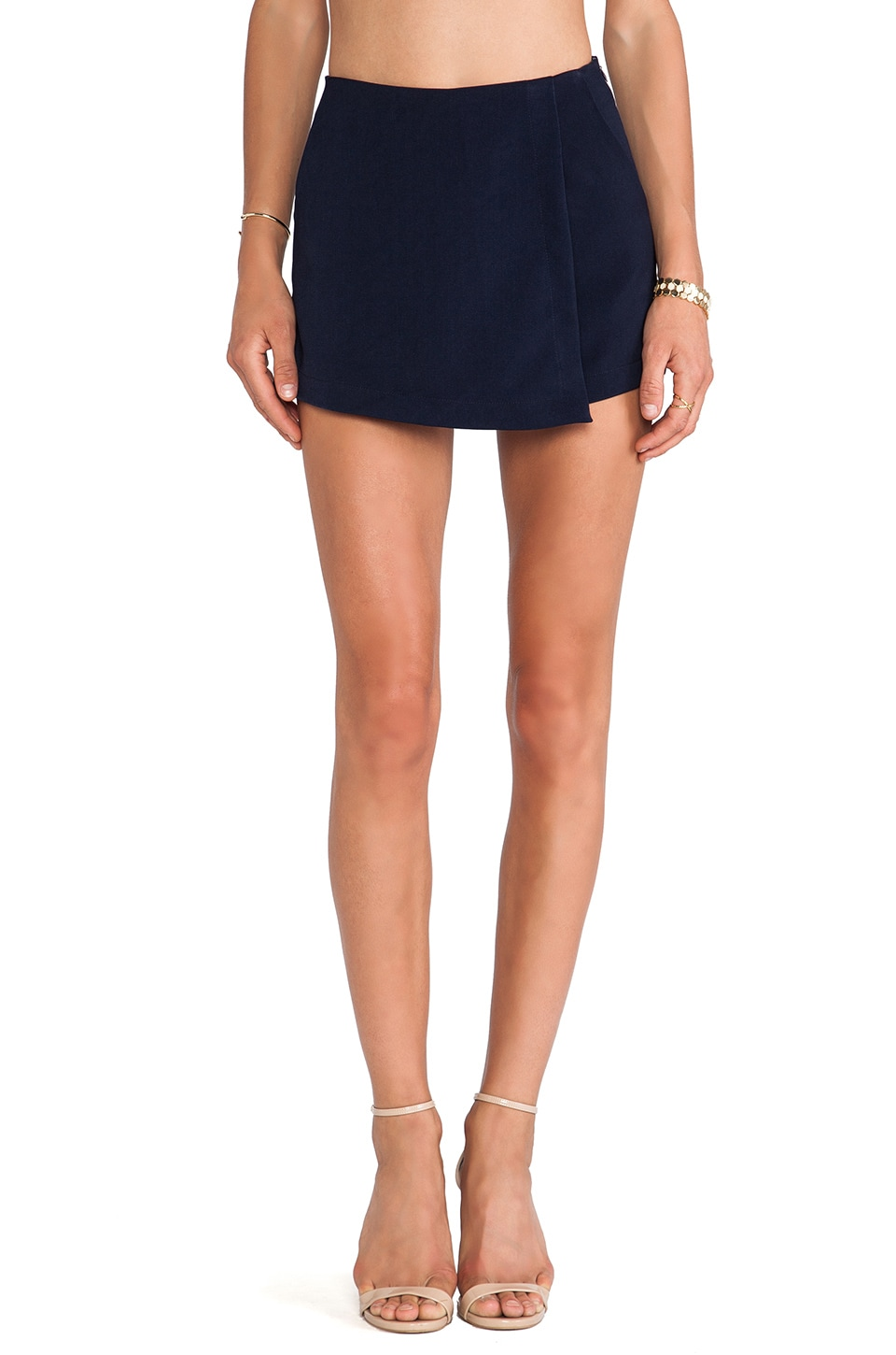 J.O.A. Asymmetrical Hem Skort in Navy
