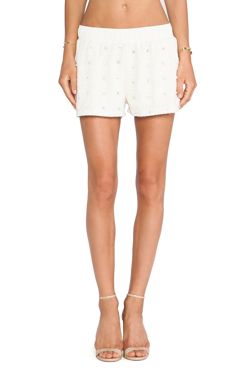 J.O.A. Studded Lace Shorts in Light Khaki