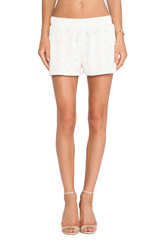 J.O.A. Studded Lace Shorts in Light Khaki