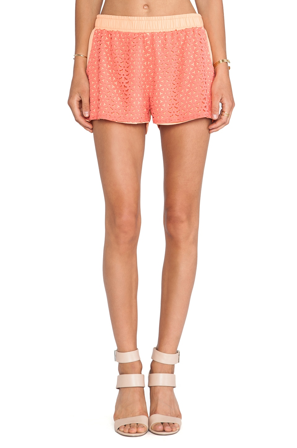 J.O.A. Floral Cut-Out Shorts in Coral