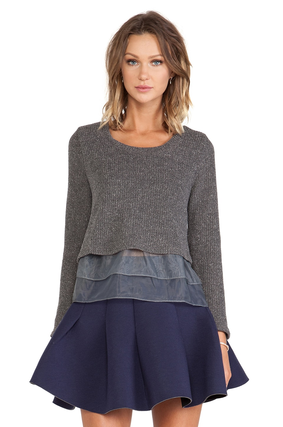 J.O.A. Organza Sweater in Charcoal