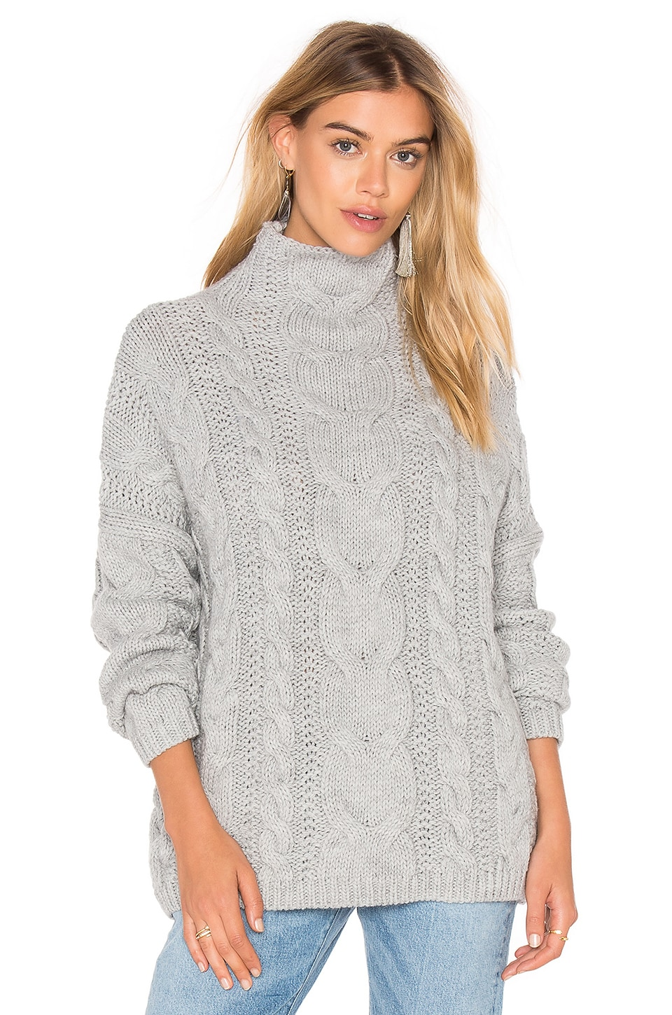 J.O.A. Long Sleeve Turtleneck Sweater in Grey