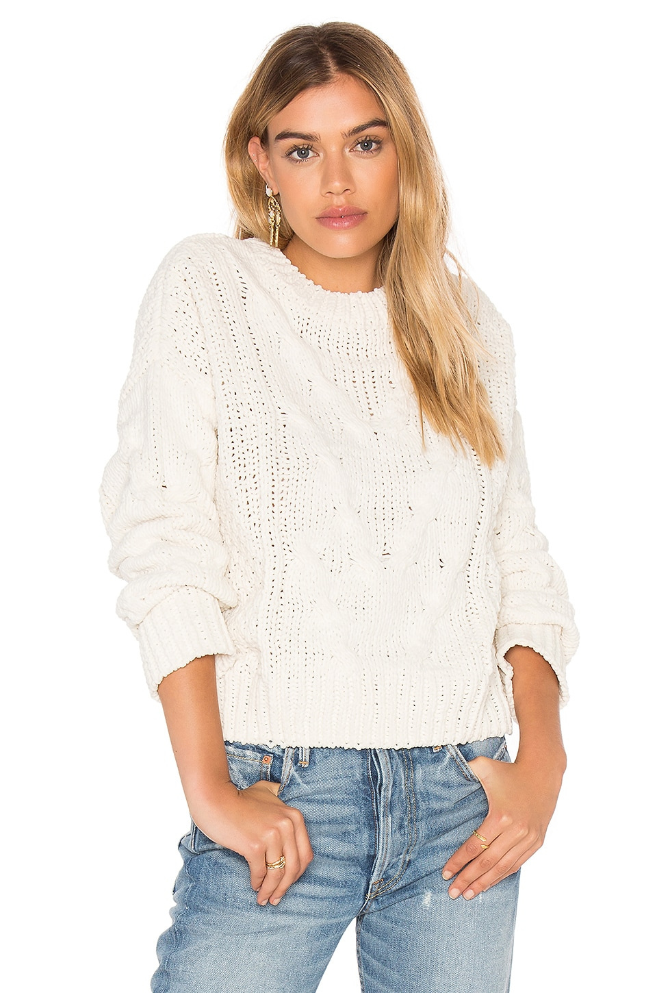 J.O.A. Long Sleeve Crew Neck Sweater in Ivory