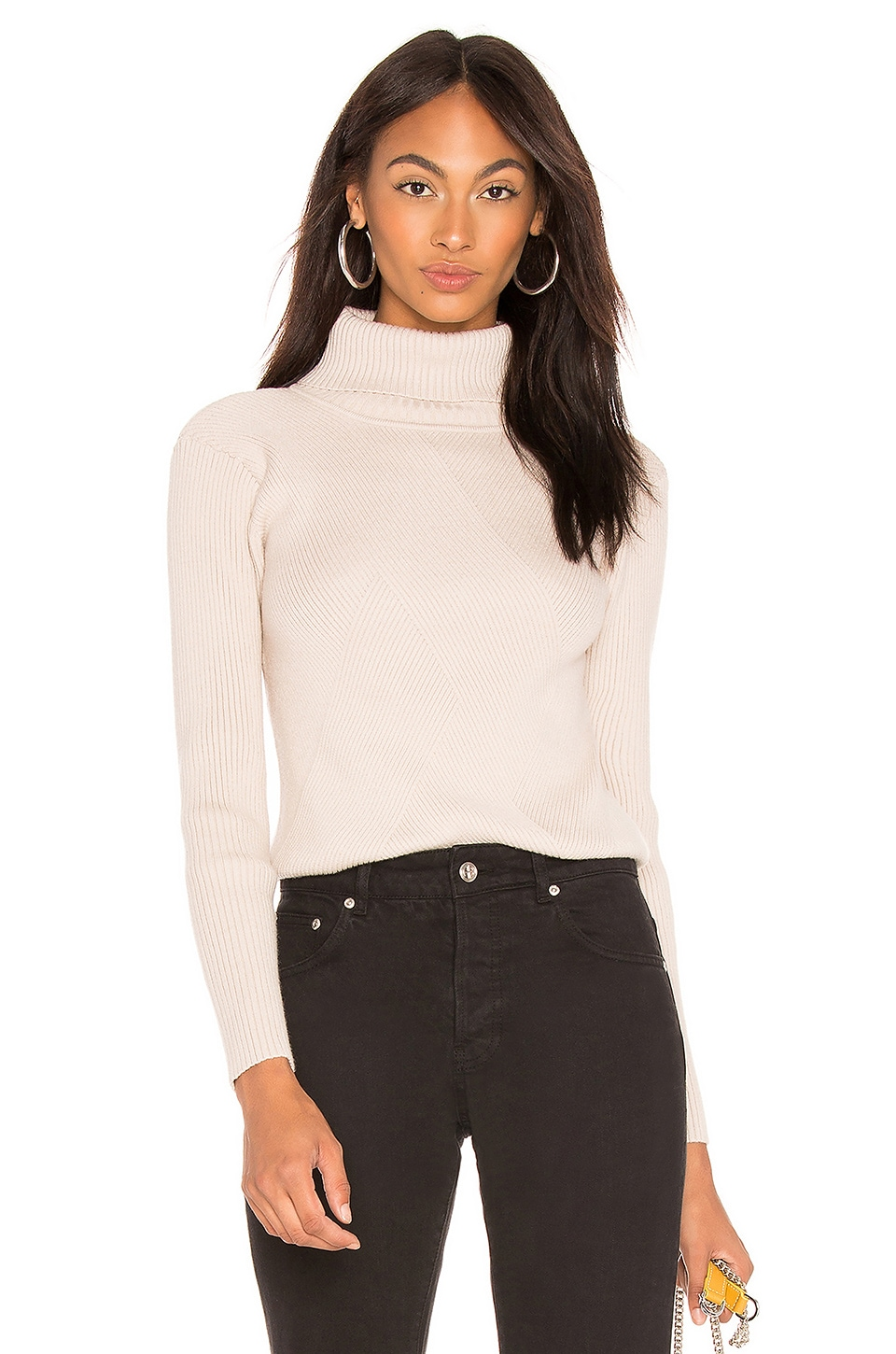 J.O.A. Turtleneck Ribbed Top In Cream