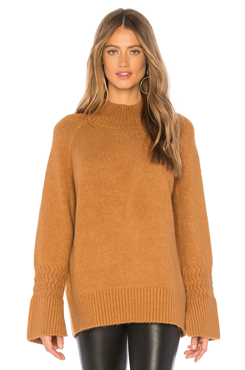J.O.A. Mock Neck Sweater in Camel