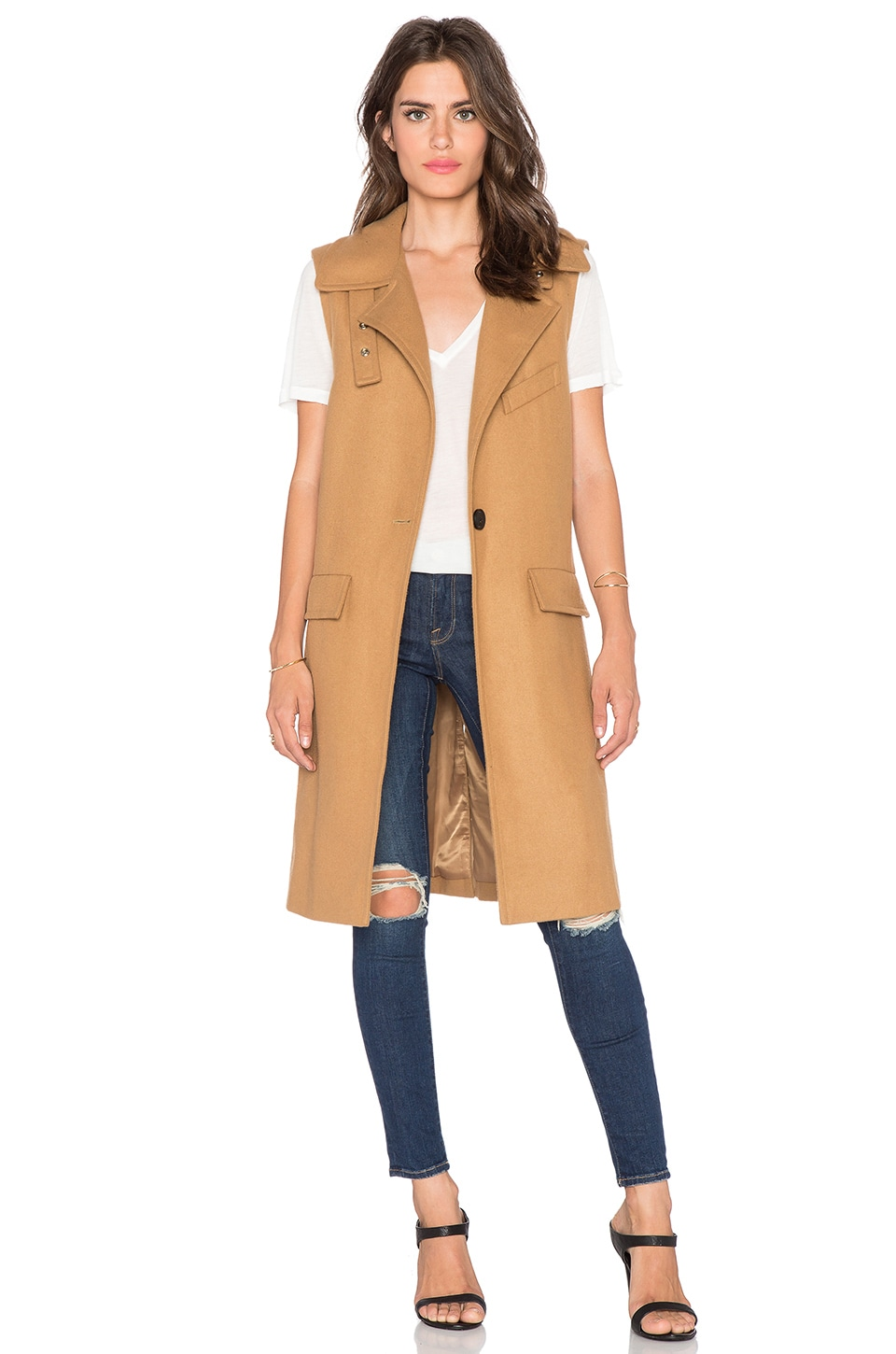 J.O.A. Sleeveless One Button Coat in Khaki