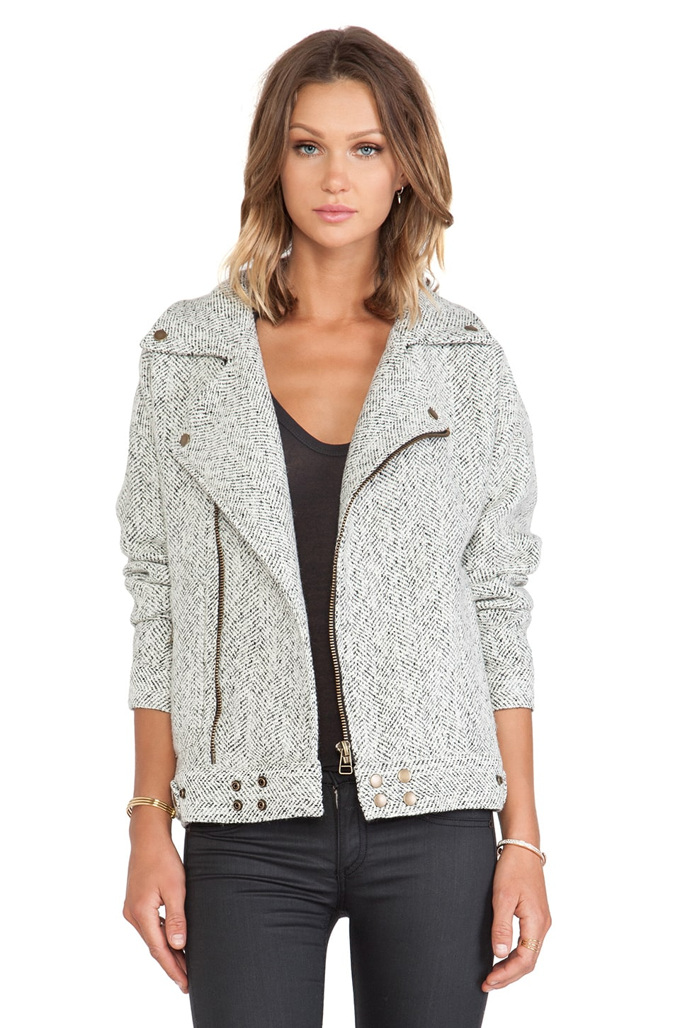 J.O.A. Biker Jacket in Ivory & Black