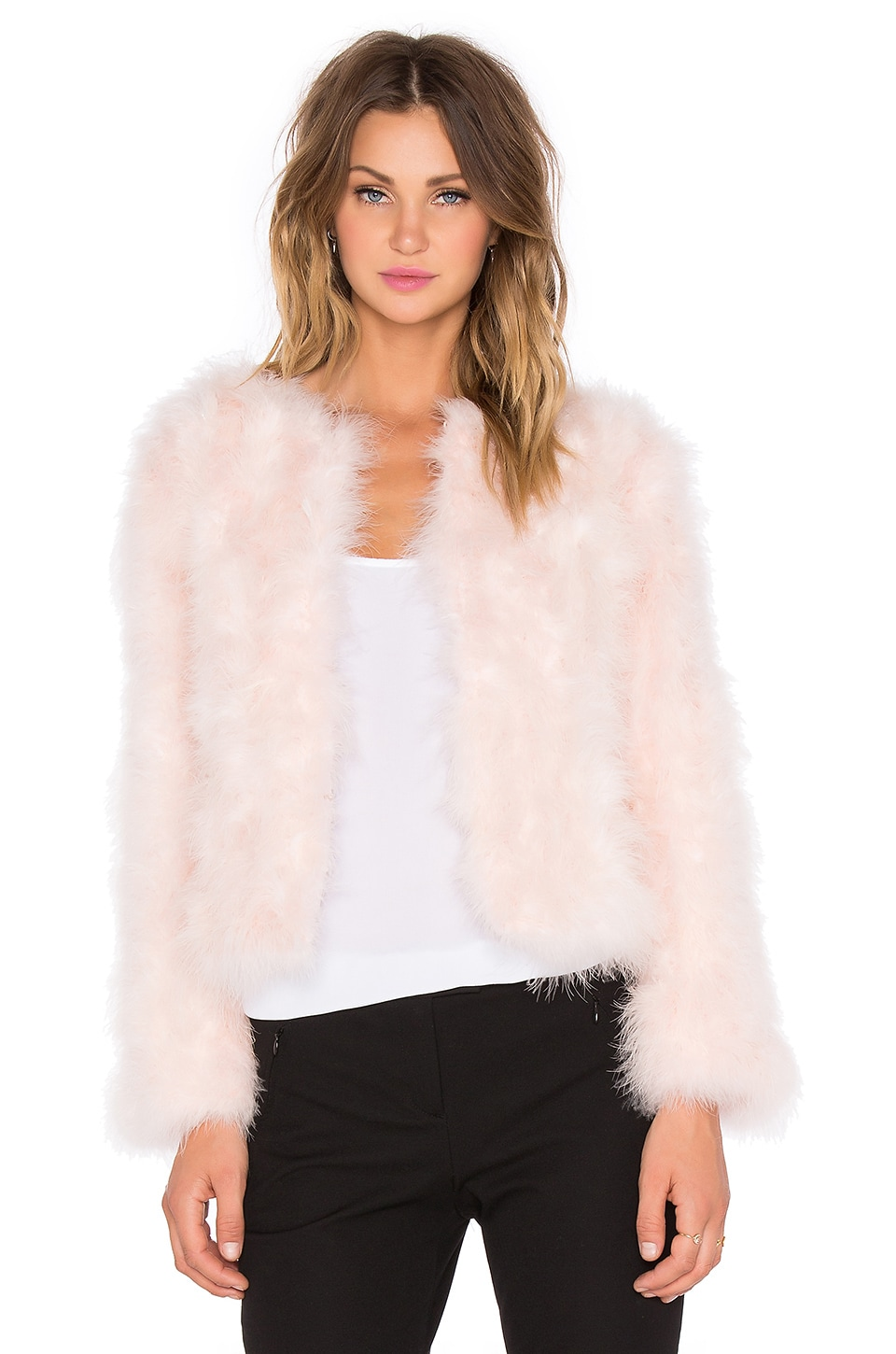 J.O.A. Ostrich Jacket in Baby Pink | REVOLVE