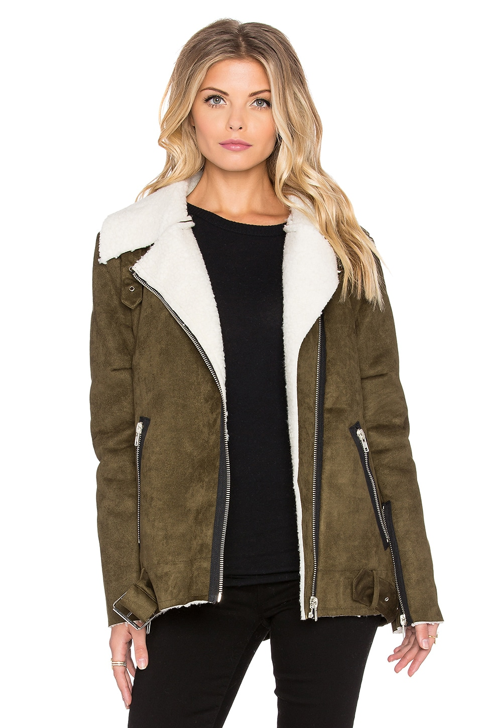 J.O.A. Asymmetric Suede Shearling Jacket in Olive