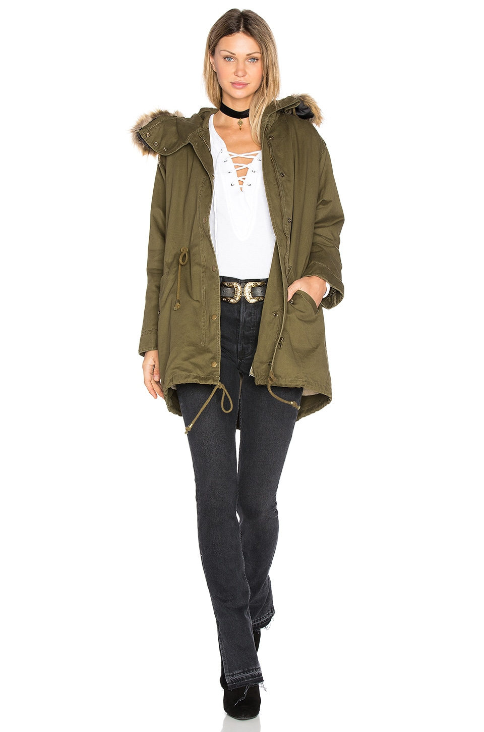 J.O.A. Drawstring Jacket with Faux Fur Trim in Army Green