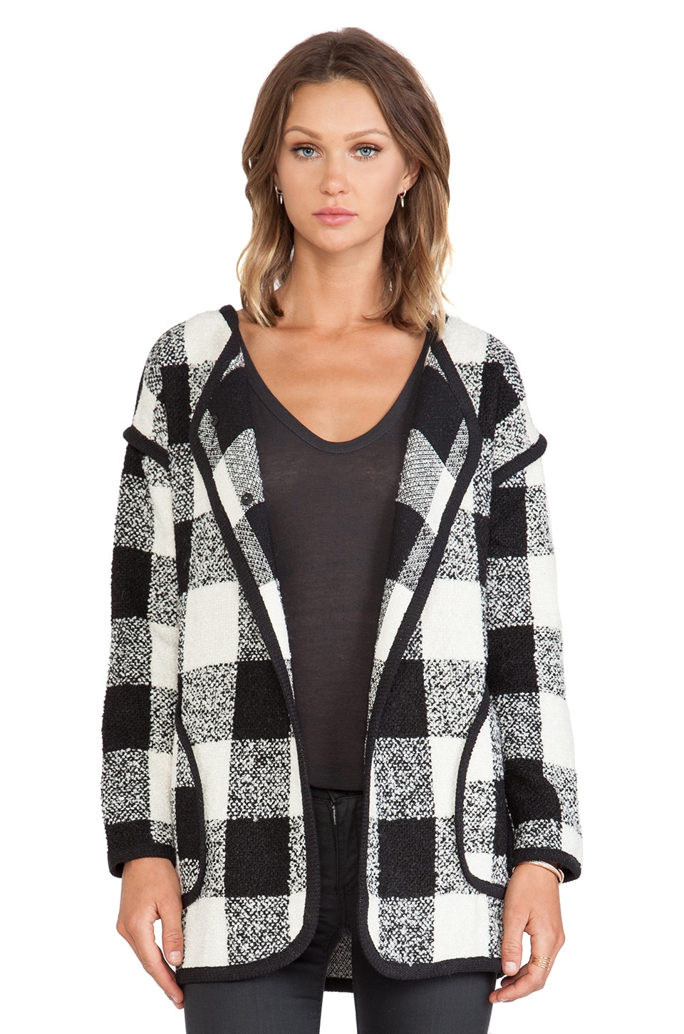 J.O.A. Checker Coat in Black & White