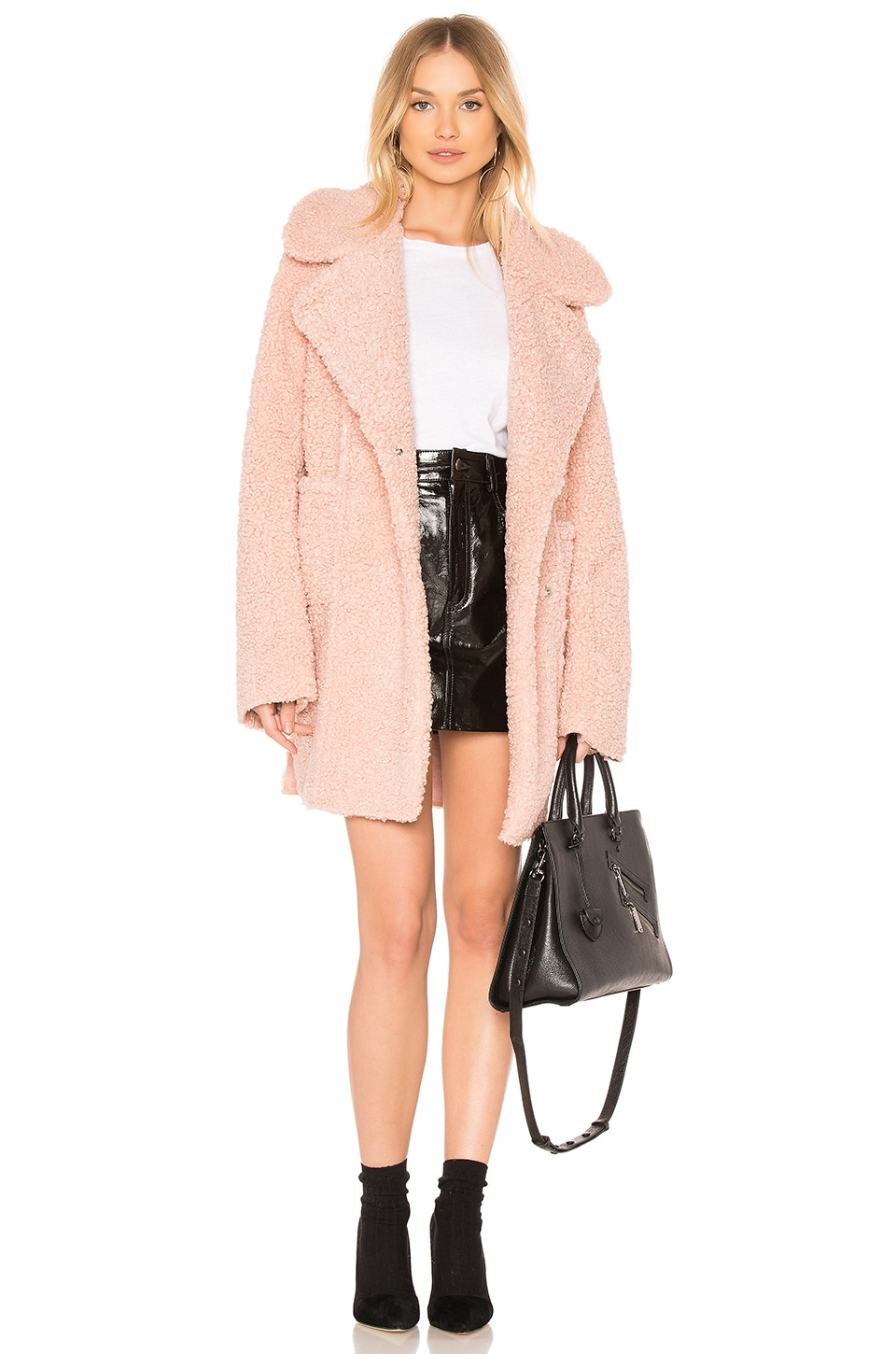 J.O.A. Reversible Shearling Coat in Dusty Pink