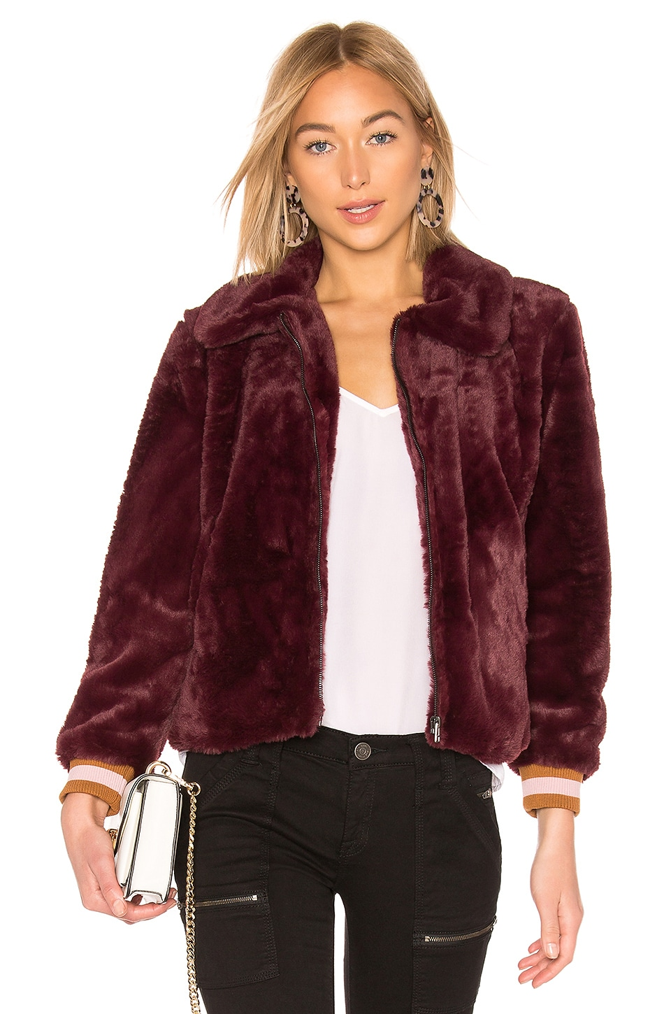 J.O.A. Faux Fur Bomber Jacket in Wine