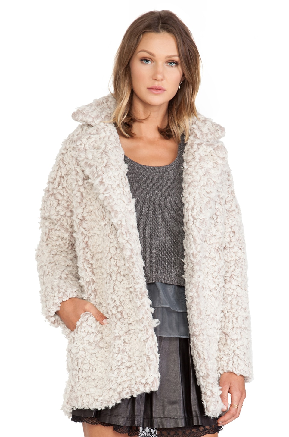 J.O.A. Blazer Boucle Faux Fur Coat in Dust Rose