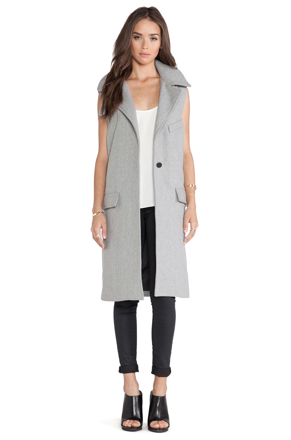 J.O.A. Sleeveless Coat in Grey