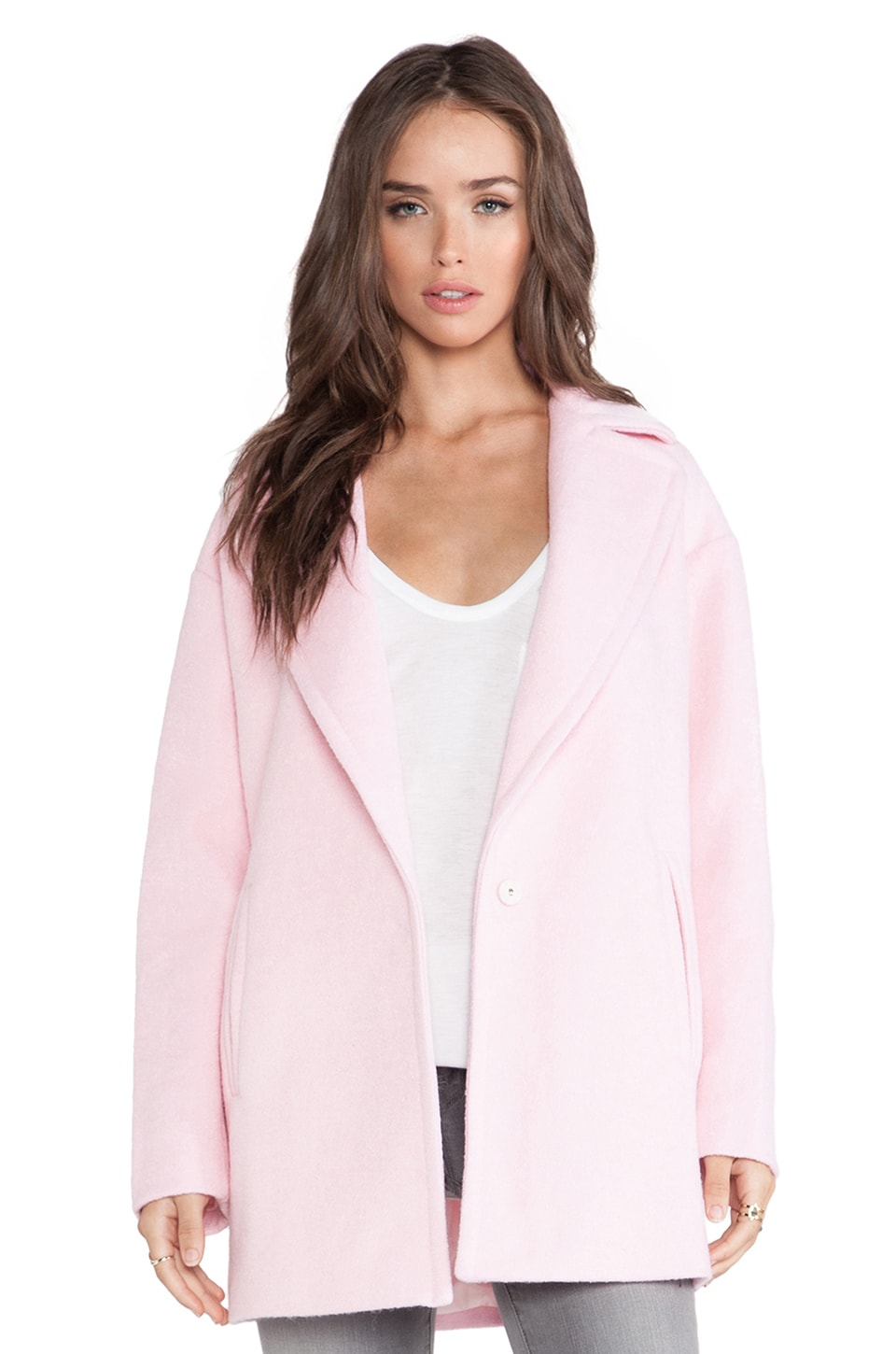 J.O.A. Oversized Coat in Baby Pink